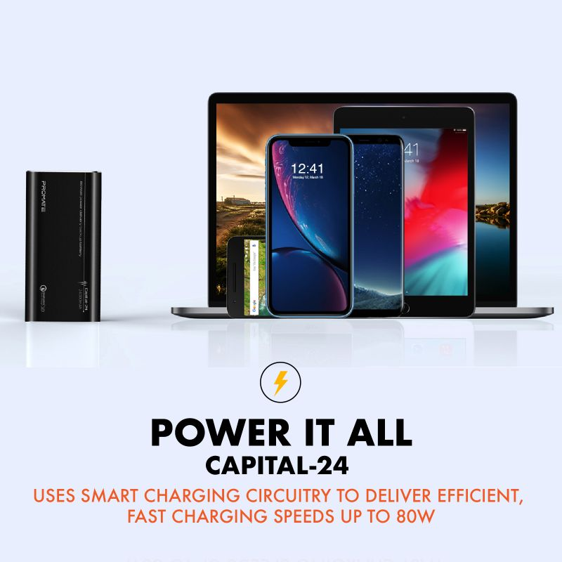 Promate Capital-24: 80Watt Power Delivery Backup Battery 24000mAh • Qualcomm Quick Charge 3.0 • 2-Way Super-Fast Charging • Automatic Voltage Protection  #Promate #Power_Bank #Power_Delivery #USBC #Type_C @Promate https://t.co/Kfuv7nCMy4