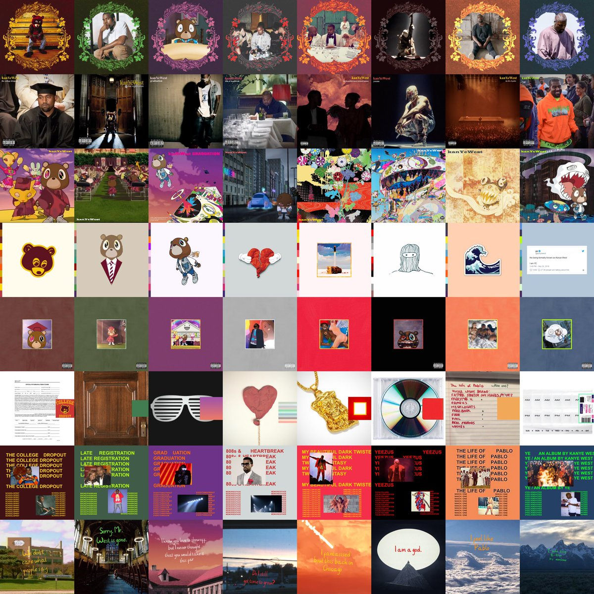 Every Kanye album cover in the style of every Kanye album