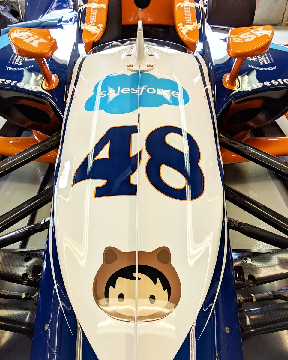 Running another great blue and orange @salesforce livery this year, and the design team did an awesome job with a proper font for the 48. Can't wait to get it on track tomorrow! #indy500 #indycar