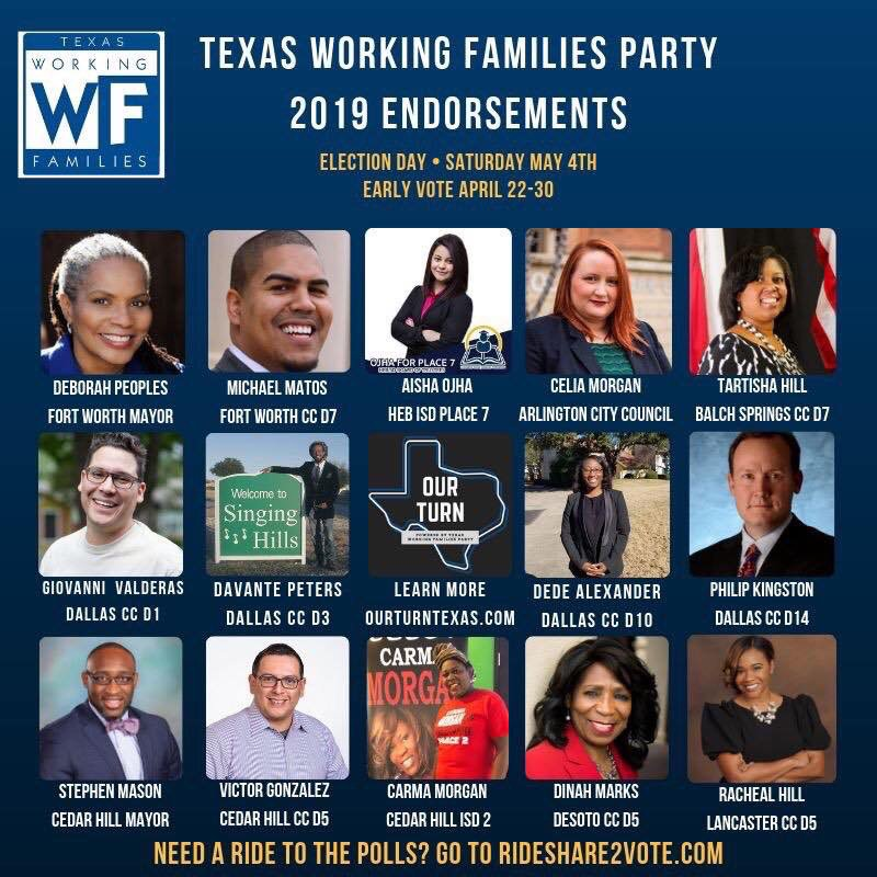 Go out and vote for your 2019 @WorkingFamilies endorsed candidates! #WFP4themany #OurTurnTexas https://t.co/xC5NEZeIKs