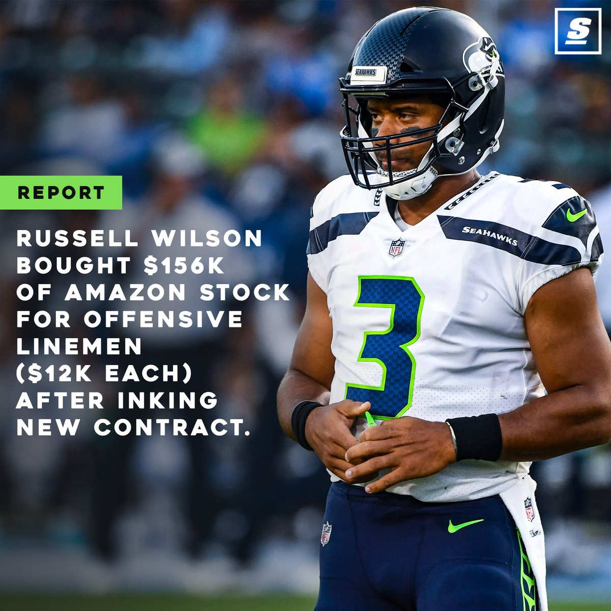 Russell Wilson is taking care of his O-line. 👏 💰 thesco.re/2Doshef