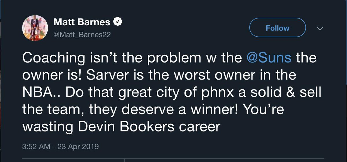 "Matt Barnes says the Suns and owner Robert Sarver are ""wasting Devin Booker's career"""