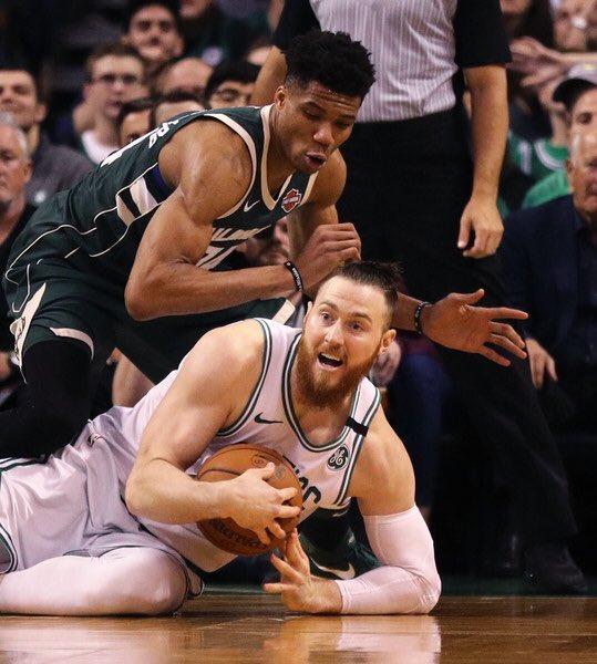 Aron Baynes career +/- vs the Milwaukee Bucks: +21  Giannis Antetokounmpo career +/- vs the Boston Celtics: -61
