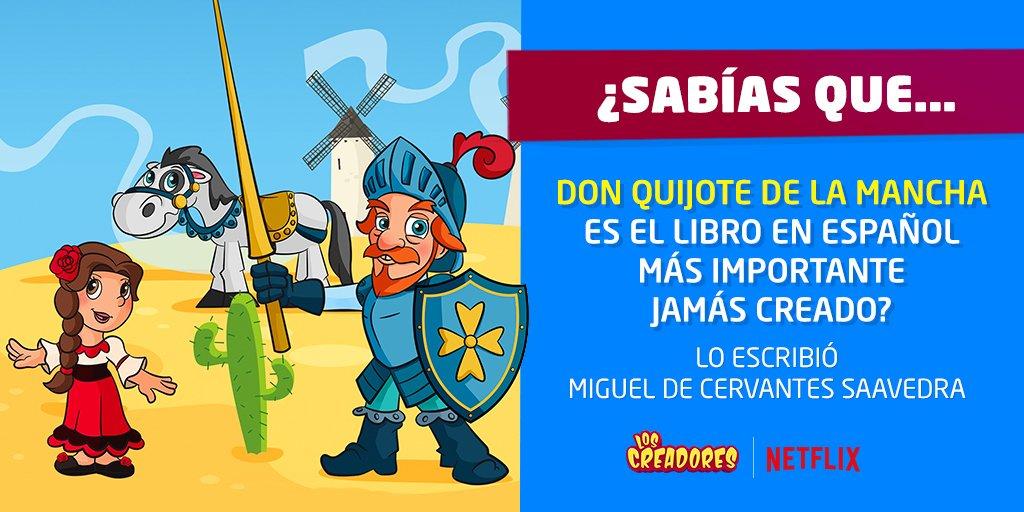 Las aventuras de este divertido caballero se escribieron hace más de 400 años, y en homenaje a su autor hoy festejamos el día de nuestra lengua, el español. 💃🐴  #DiadelIdioma  #DiaDelLibro   ✔️ Busca a Los Creadores en Netflix. ➡ https://t.co/3QDWQ7dzZb https://t.co/HOQ5eVoNA0