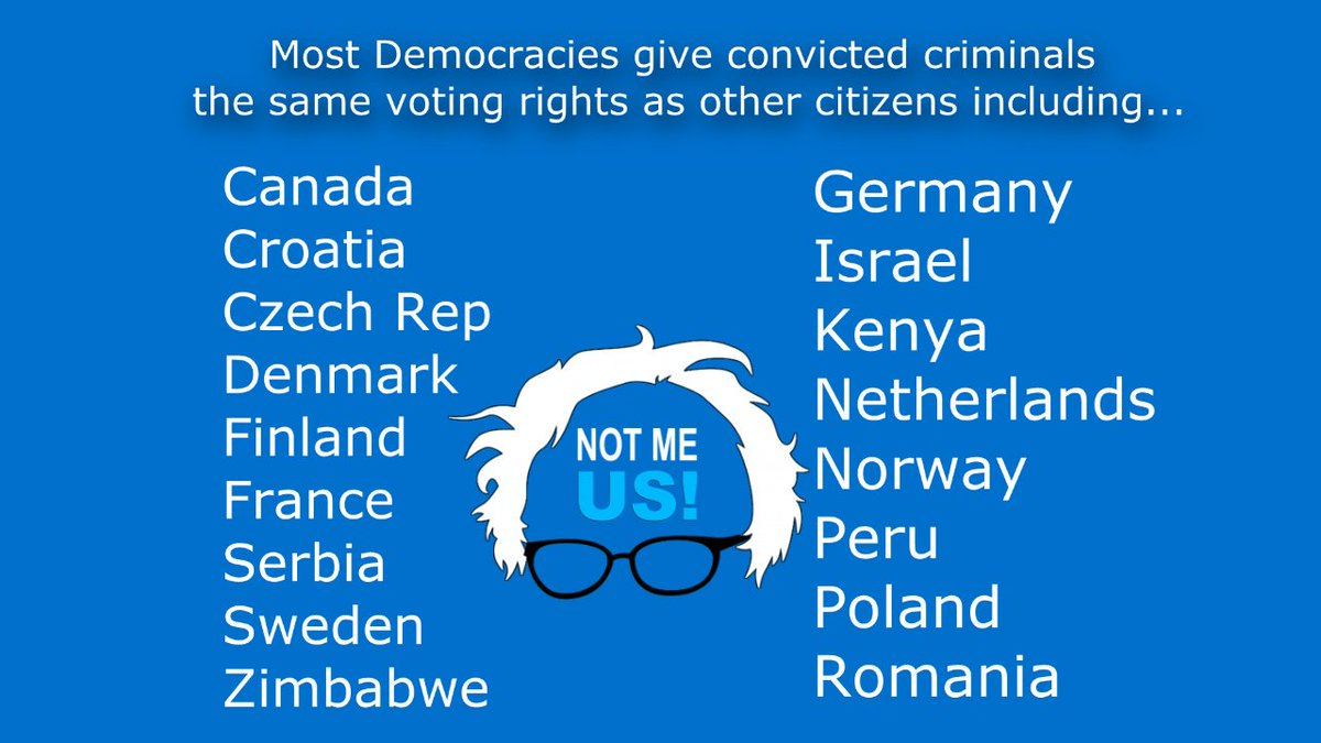 This is for those alarmed by @BernieSanders defending the #VotingRights of ALL Americans, including those incarcerated.   The ability to vote is one of our most basic &amp; fundamental rights.  It should NEVER be taken away!  #Bernie2020 #BernieTownHall #CNNTownHall #NotMeUs<br>http://pic.twitter.com/BQ0Rx2I0kp