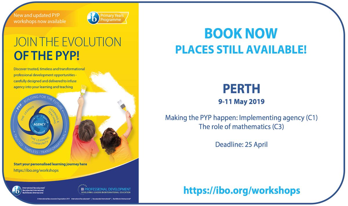 #PYPpd opportunities in Perth, Australia 9-11 MayLast chance to join the evolution of the PYP at new/updated professional development workshops The role of mathematics (C3)Making the PYP Happen: Implementing Agency (C1)Secure your place now!http://bit.ly/2Kn5i9h