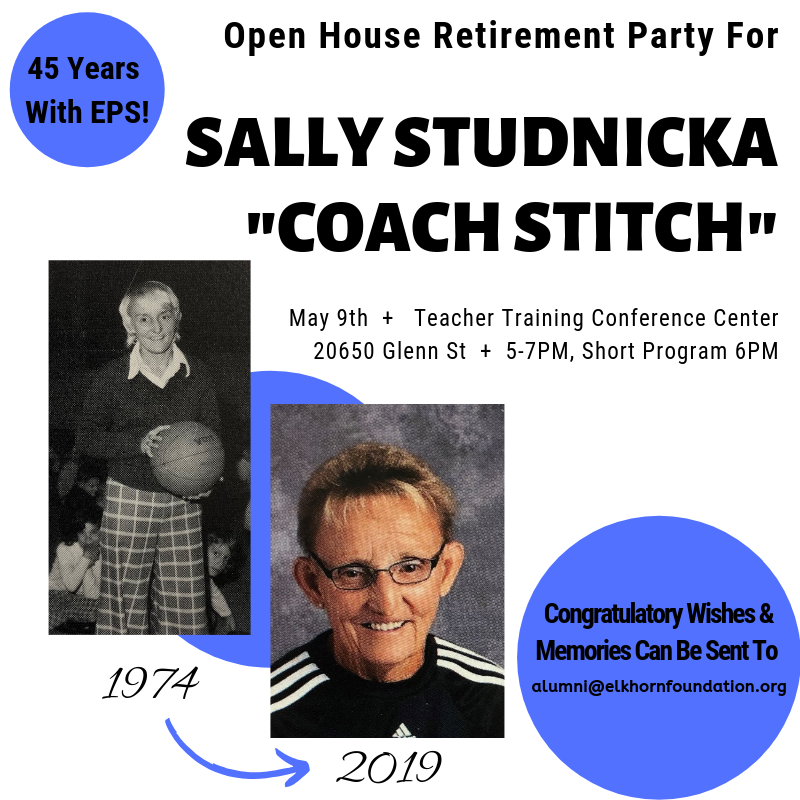 Attention former students &amp; colleagues of Sally Studnicka: &quot;Coach Stitch&quot; is retiring after 45 yrs w/ @ElkhornPS! Join us for a retirement party from 5-7PM on May 9. Congratulatory wishes &amp; favorite memories can be emailed to alumni@elkhornfoundation.org to be put in a scrapbook.<br>http://pic.twitter.com/SO4Xa30EaN