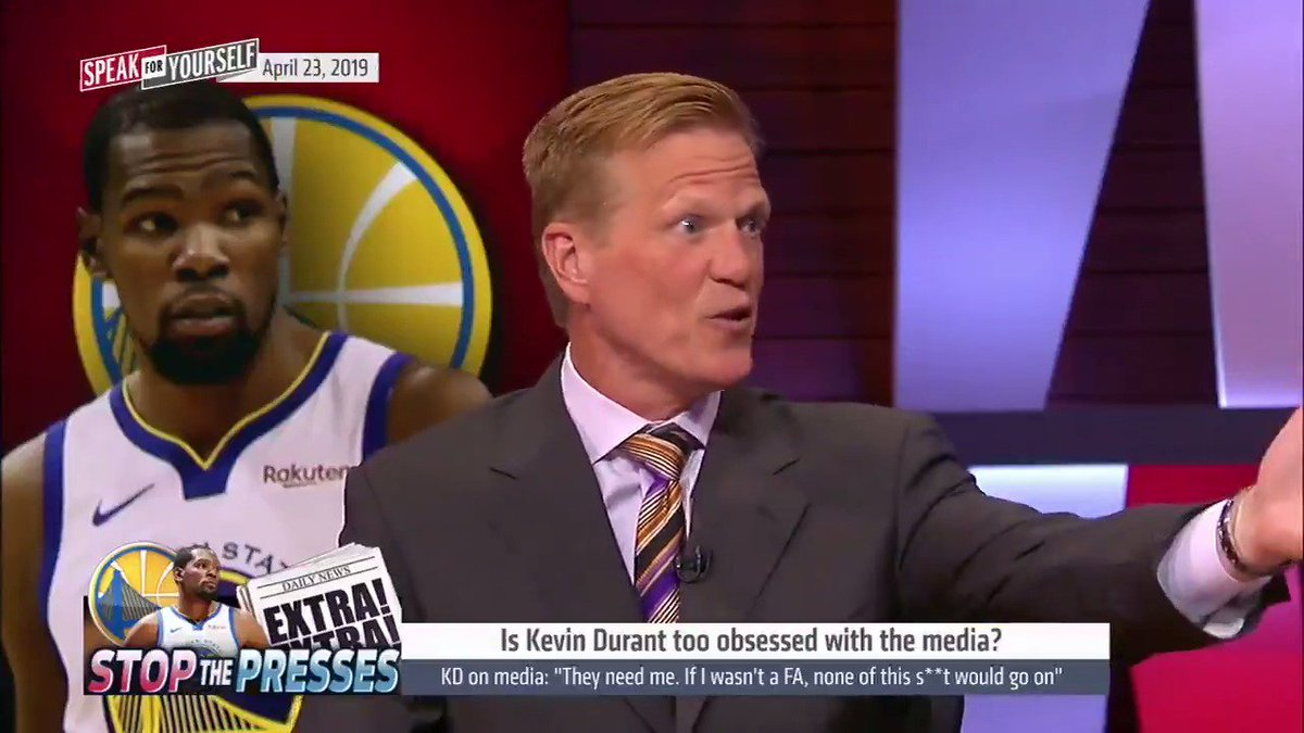 """""""Durant lost the high moral ground to criticize the media. He lost it with the burner account… He was his own anonymous source. Once you've taken that approach you can't complain about things being said.""""  @RicBucher on KD's problem with the media"""