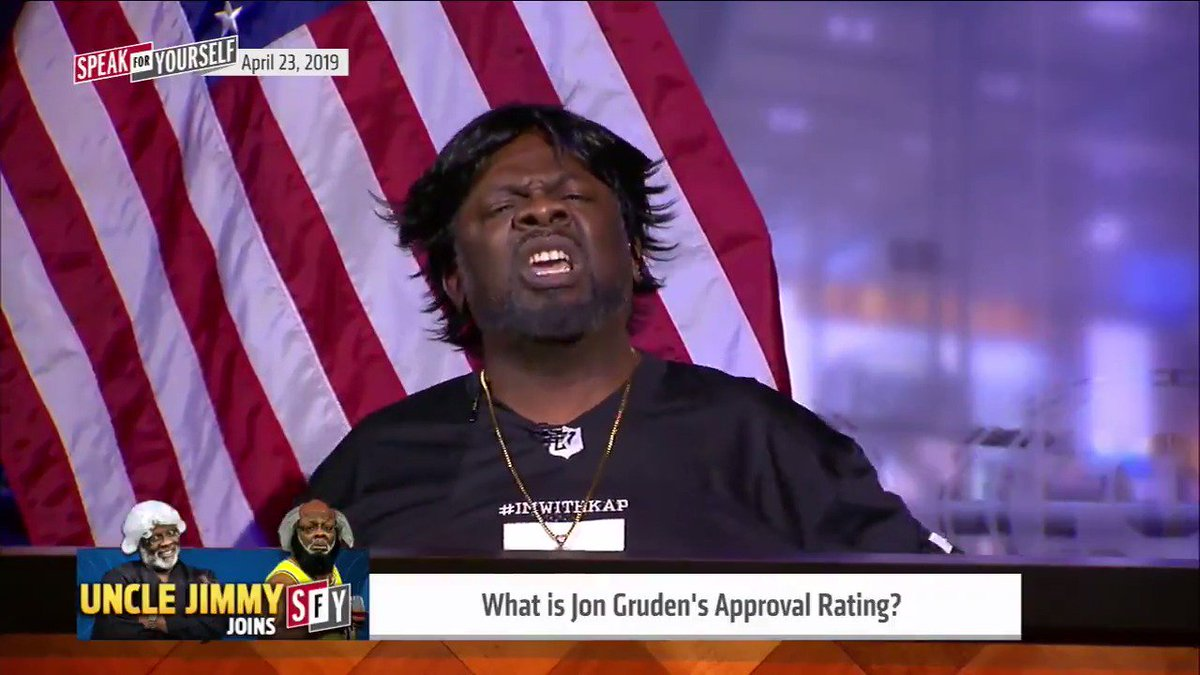 """""""You hating on Jon Gruden because he like Kyler Murray… Didn't you trade up in the draft to get Darnell?... Who was the free agent who walked in and saved you? Who saved the show?... You need people like me!""""  @UncleJimmySFY channels his inner Scarface to defend Jon Gruden"""