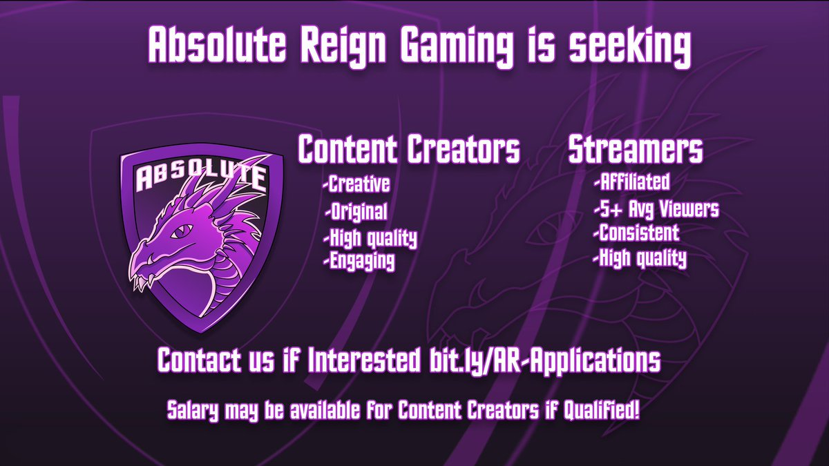 |#Recruiting #Announcement|  Absolute Reign Gaming is currently seeking the following:   •#Editors   •#ContentCreators    •#Apex/#Fortnite Content Players   •#Streamers   •#Smite/#Paladins Console Teams Feel free to DM with inquiries!  #AReSports<br>http://pic.twitter.com/2pLNsA2CaN