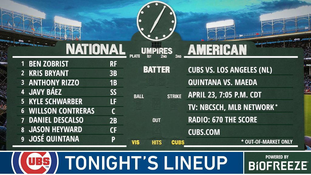 Here is tonight&#39;s #Cubs starting lineup. #EverybodyIn   Stream on @NBCSChicago:  https:// bit.ly/2JmVVWN  &nbsp;  <br>http://pic.twitter.com/xK6wUI7hjj