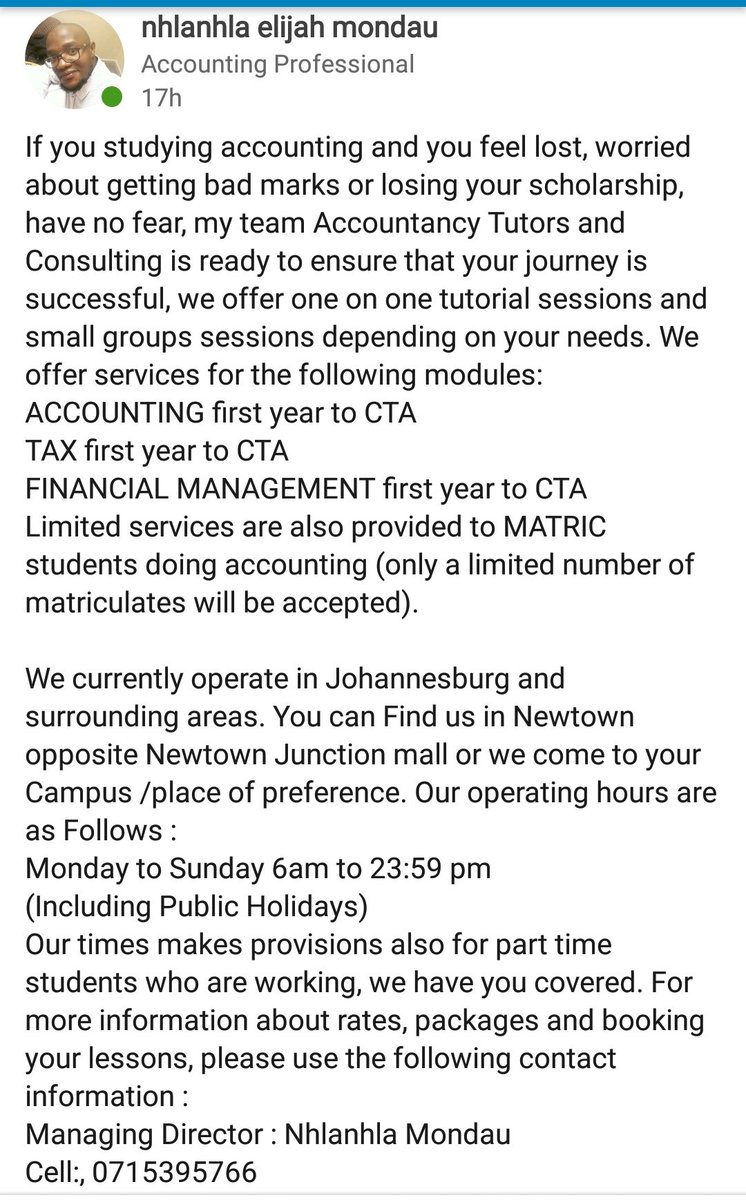 We are Accountancy Tutors and Consulting, we provide one on one and small groups Tutoring /Consulting for Accounting /Taxation /Costing and Finance. We have a team at UJ and Wits, our offices are in Newtown next to the Junction. More details below please RT #ThaboMbeki #Umlazi<br>http://pic.twitter.com/jIxgO5z2mE