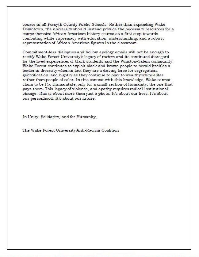 Wake Forest University Anti Racism Coalition On Twitter