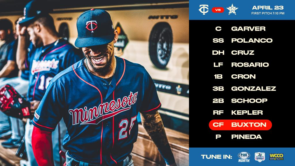 Here's how our squad lines up for game 2 against the Astros.  https:// atmlb.com/2DuDREq  &nbsp;   #MNTwins  <br>http://pic.twitter.com/JSce5Ayl2e