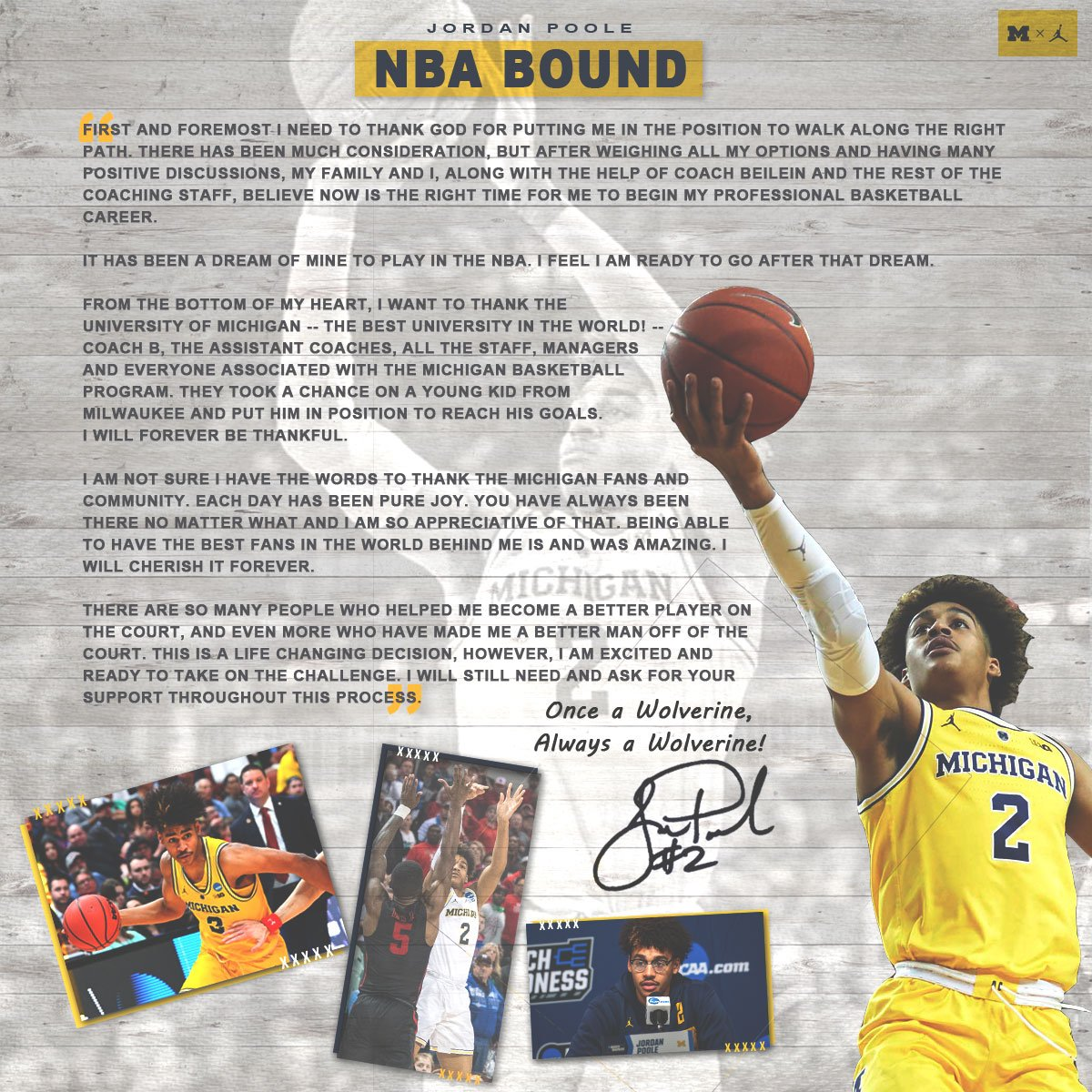 IT'S OFFICIAL! Jordan Poole will be staying in @NBADraft   In two 〽️🏀 seasons ⤵️ ✔️ 63-15 record ✔️ 13-3 postseason record ✔️✌️ B1G Tournament 🏆🏆 ✔️✌️ straight Sweet 16s ✔️A Final Four & National Title Game  THANK YOU Jordan WISHING you nothing but success  #GoBlue