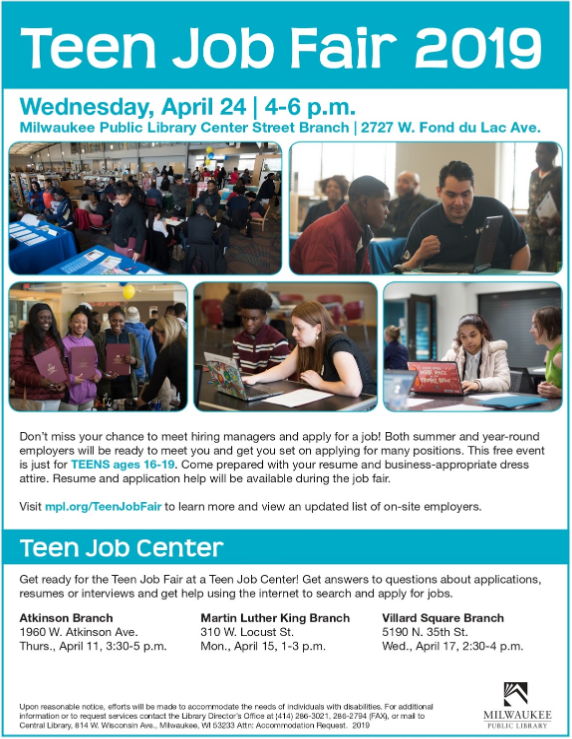 TOMORROW, the #MilwaukeePublicLibrary Center Street Branch will be hosting a #TeenJobFair! Encourage a young person you know who is in need of employment to come out, bring a resume, and meet with potential employers. More information is available on the flyer below!pic.twitter.com/dKc2zEjPWR