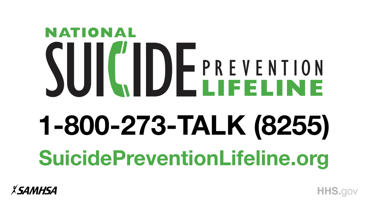 You are not alone. Help is available.   If you or someone you know is struggling with thoughts of suicide, reach out to the National Suicide Prevention Lifeline @800273TALK.<br>http://pic.twitter.com/70ojvlWVox