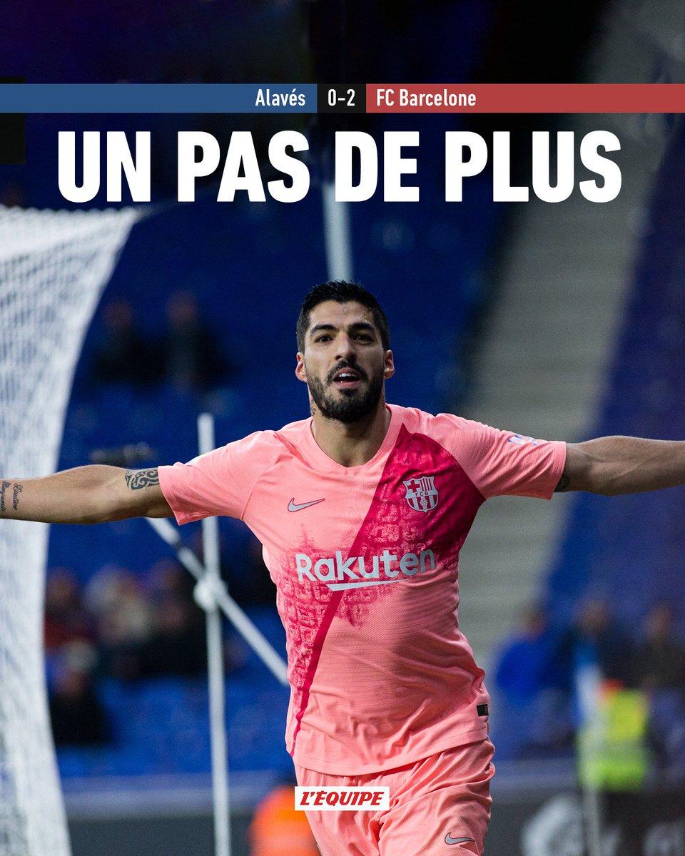 Le Barça s'approche encore un peu plus du titre. En cas de défaite de l'Atlético de Madrid demain face à Valence, les Blaugranas seront assurés d'être champions d'Espagne.   Le match > http://ow.ly/c2j630ow6q3 #ALAFCB