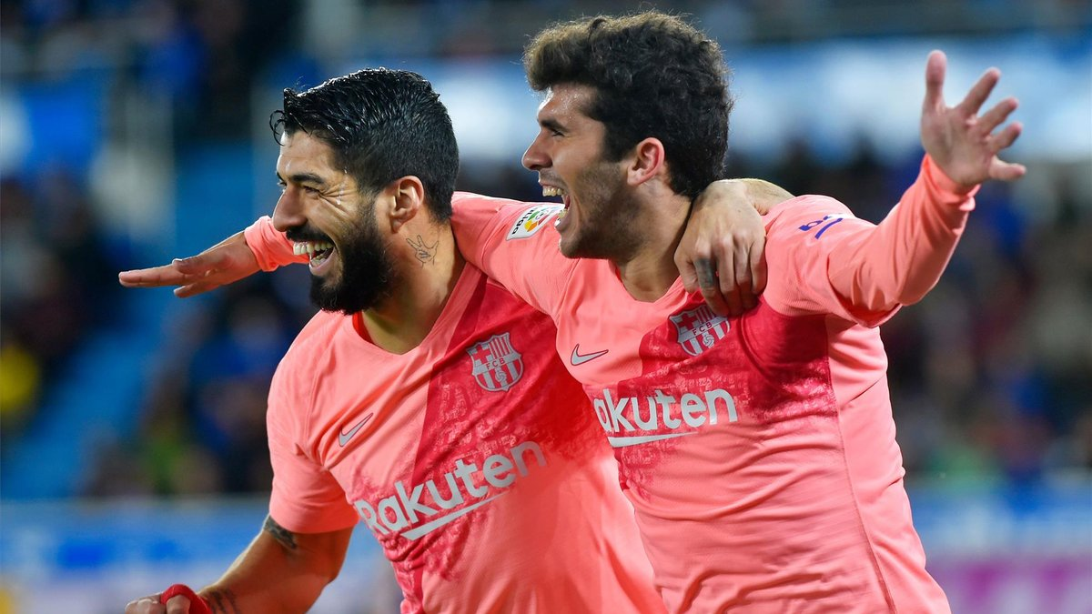 Full-Time   Alaves 0 - 2 Barcelona  La Liga is ours.