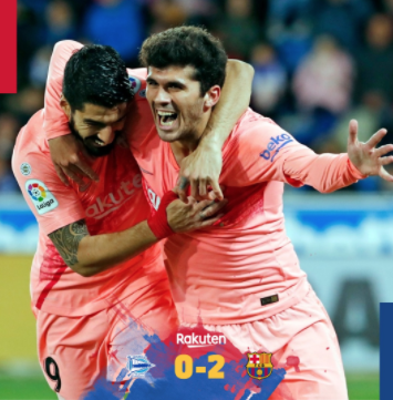 📍 Final whistle in Vitoria! ⚽ Alavés 0-2 FC Barcelona 👟@ Carlesale10 and @ LuisSuarez9 👏 Another victory in @LaLiga! 🔵🔴 # AlavésBarça
