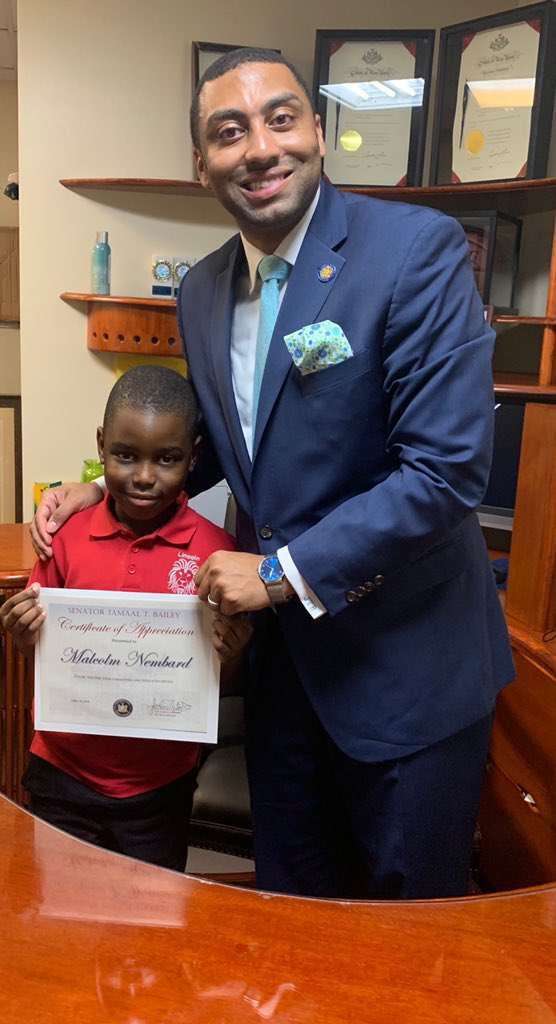 Malcolm Nembard, an 8 y/o student at Lincoln Elementary School in #MountVernon gave me an incredible honor when he selected me to be the topic of his #BlackHistoryMonth  paper. He came into the office with his family today- and, man, the world is in good hands with you, Malcolm! <br>http://pic.twitter.com/Y4MDYplwYY