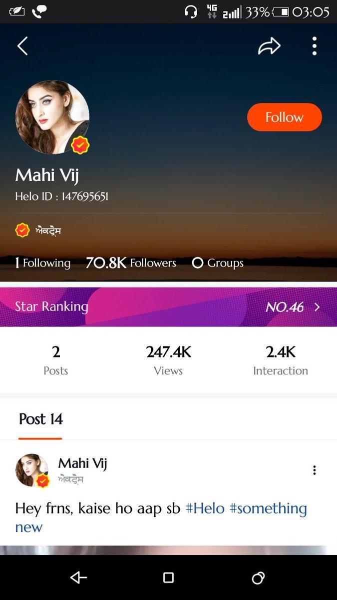 Follow @VijMahhi now on Helo App♥ #MahhiVij #Love #HeloApp