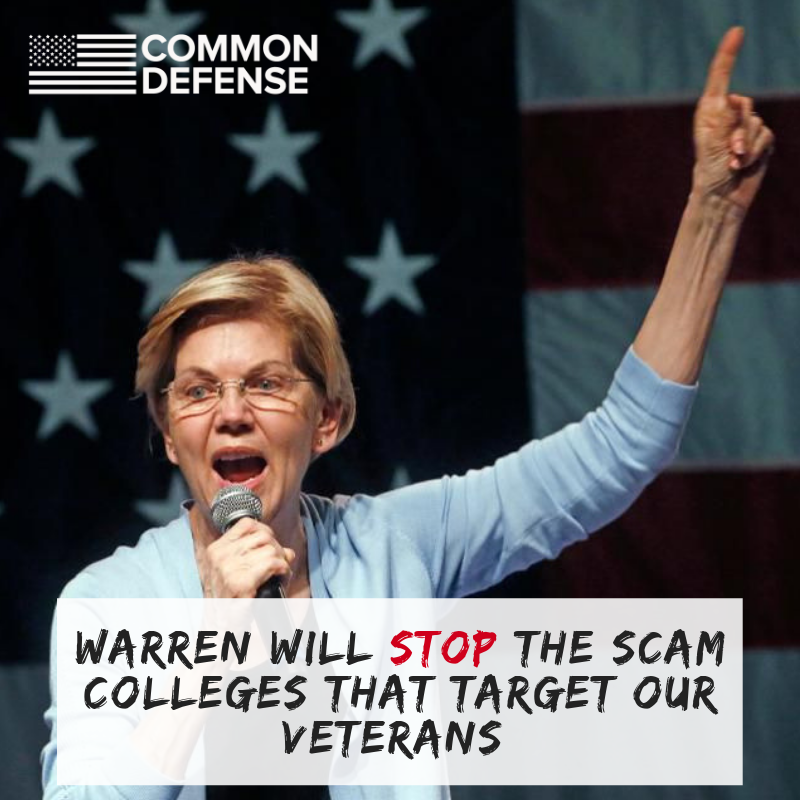 Something you may not have noticed about @ewarren's bold education plan: she's taking a stand for Veterans.  Warren would close the loophole that lets predatory for-profits get rich targeting lower-income students, servicemembers, and students of color. https://medium.com/@teamwarren/im-calling-for-something-truly-transformational-universal-free-public-college-and-cancellation-of-a246cd0f910f?&subsource=GS-67803829336-elizabeth%20warren%202020-b-344788223433&gclid=CjwKCAjw7_rlBRBaEiwAc23rhpSYSvorJR7gmCjvn_TdX4st64hJF9mwPcbl_3LiHQGveMpN_cANrhoCdugQAvD_BwE&refcode=WFP2019-LB-GS-NY&refcode2=GS-67803829336-elizabeth%20warren%202020-b-344788223433…