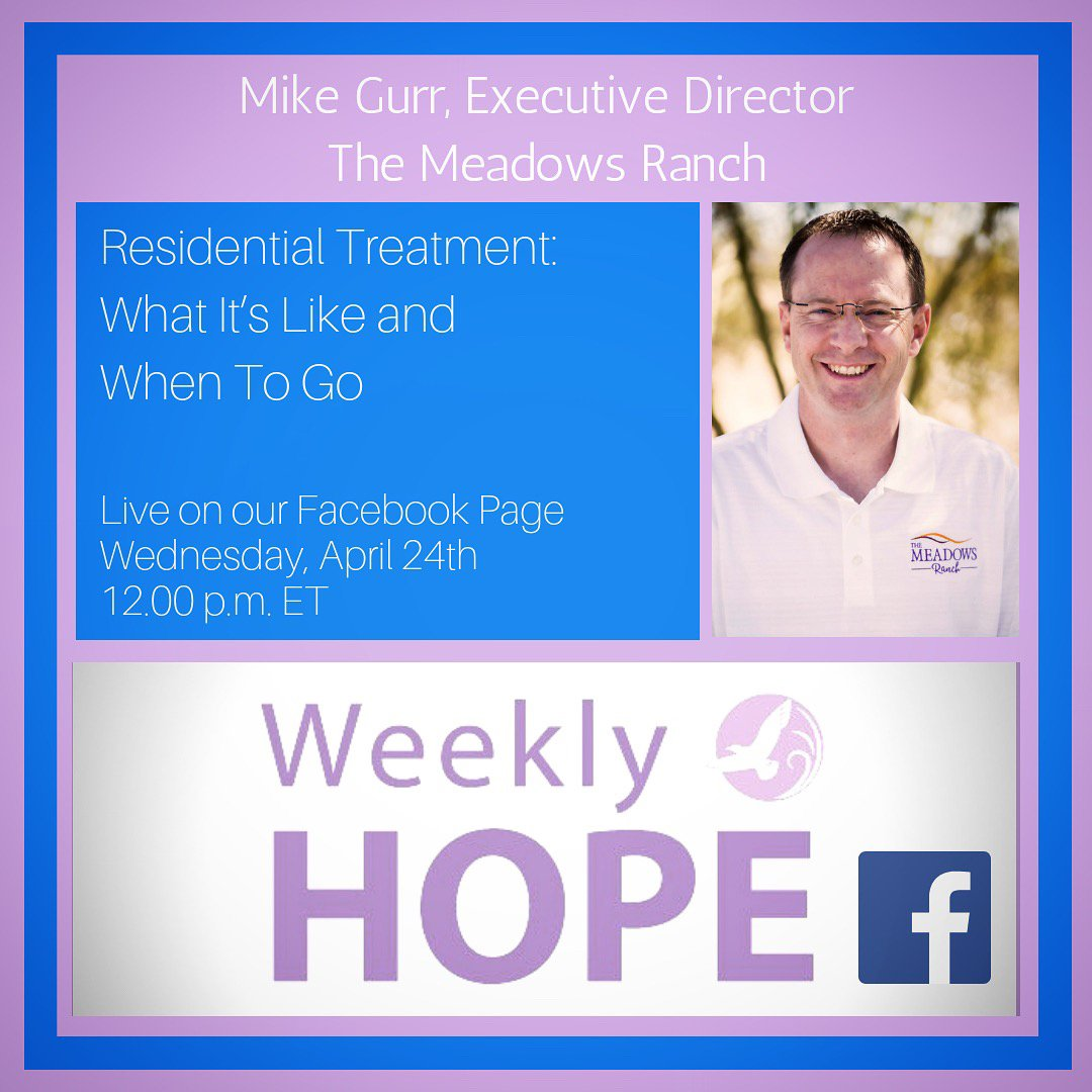 Have you been wondering what residential treatment for an eating disorder is really like? And how do you know when it might be the right step? We break it down Tomorrow, April 24th at 12pm on #WeeklyHope w/@TheMeadowsRanch's Mike Gurr https://t.co/Su91V1o8Gu https://t.co/WvHB73zMjR