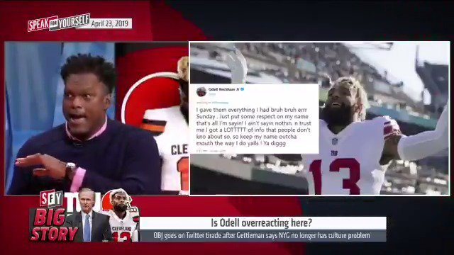 """""""You got rid of somebody who overshadowed what the New York Giants had built there… They no longer have to deal with the stardom of Odell Beckham.""""  Lavar Arrington agrees with Gettleman that trading OBJ from the Giants eliminated their culture problem in the locker room"""