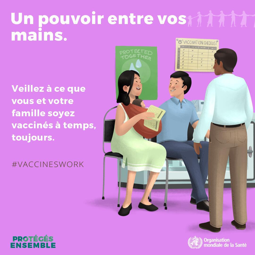 À tout âge, les vaccins sauvent des vies. Ils protègent les enfants et les adultes. Protégez-vous ainsi que votre famille en vous vaccinant à temps. http://bit.ly/2Gg3JEE via @WHO