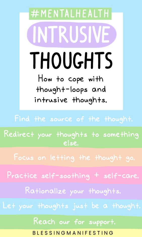Intrusive thoughts are not helpful thoughts, instead they are self-deprecating. Get out of the cycle of negative thinking. Know that you are more than your negative thoughts.