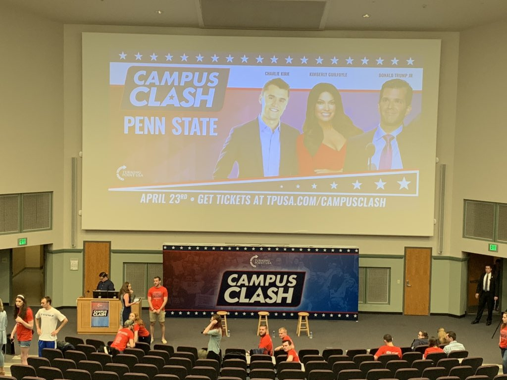 Long line outside as setup continues before #CampusClash at @penn_state w/DONALD Trump Jr.
