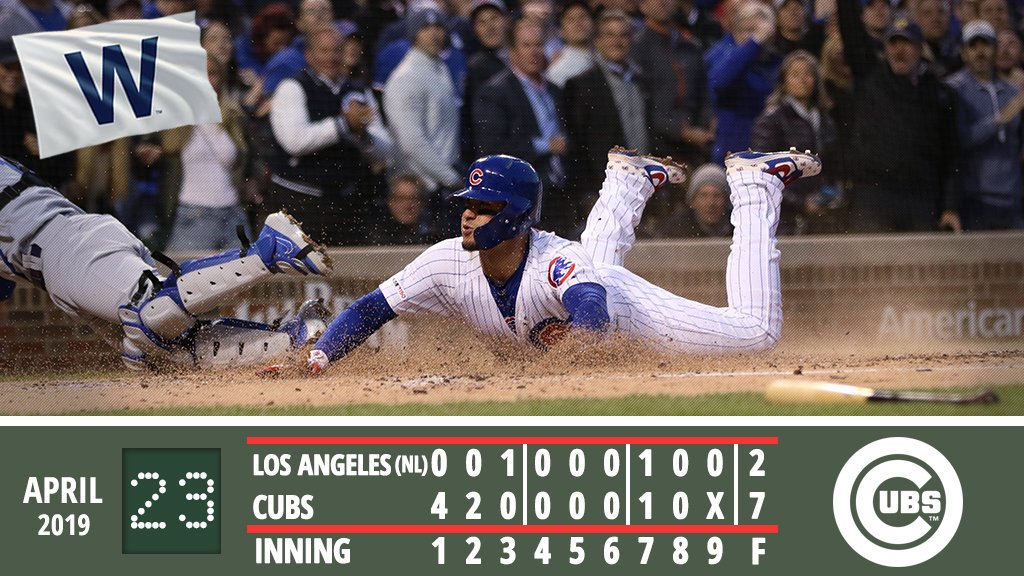 #Cubs offense strikes early, Quintana shuts down Dodgers in series opener.  Recap:  https:// atmlb.com/2ITPgkH  &nbsp;   #EverybodyIn  <br>http://pic.twitter.com/NbxZ1Cvrk3