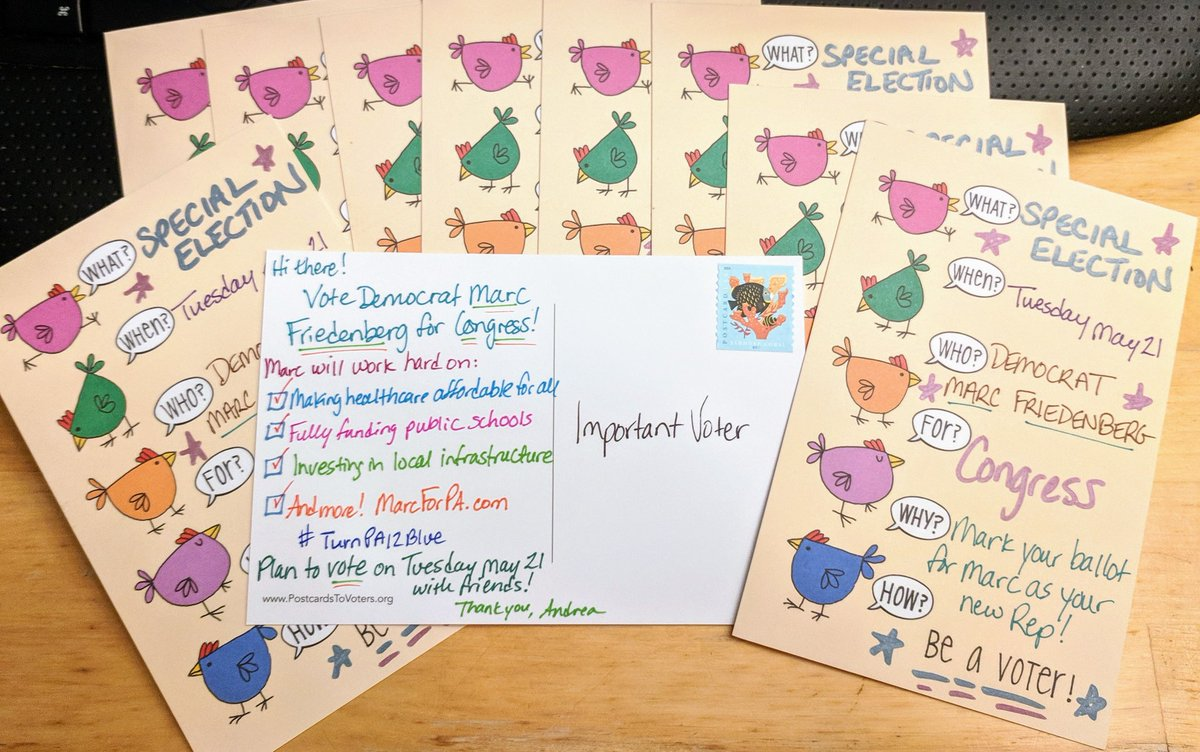 Another batch of #PostcardsToVoters for @MarcForPA. Let&#39;s keep the #BlueWave going: #TurnPA12Blue! <br>http://pic.twitter.com/2il9CG5guX