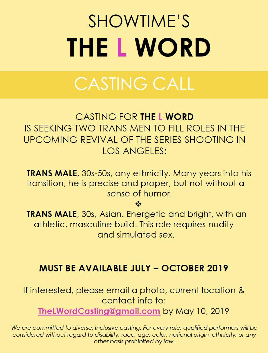 🚨🚨🚨 THE L WORD IS CASTING TRANS MEN #TheLWord RT #ToLandBack