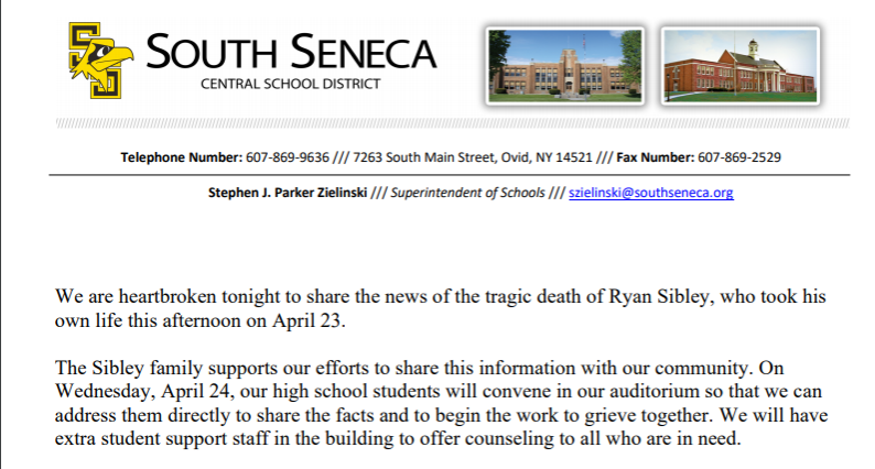 South Seneca Central School District mourning loss of freshman