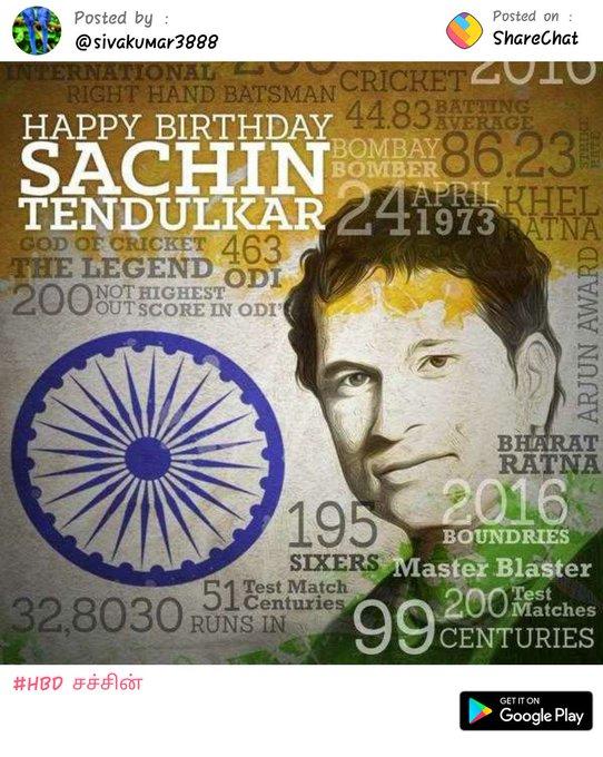Happy birthday to God of Cricket The legend  SACHIN TENDULKAR