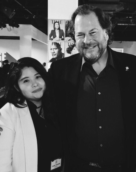 It was an honor to meet, Marc @Benioff. The #TIME100 Summit was absolutely incredible. There were so many powerful leaders in the room; and being able to hear their thoughts on multiple topics was so inspiring. Thank you, @TIME for the opportunity, and to all the speakers!