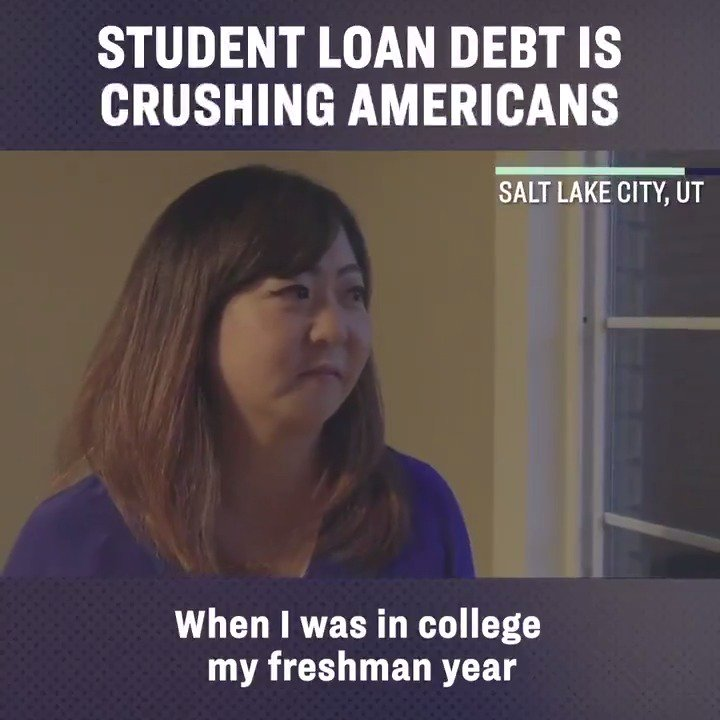 Young people in our country, like Aubrey from Utah, are getting absolutely crushed by student loan debt. It doesn't have to be this way and I've got a plan to tackle the debt crisis head on.