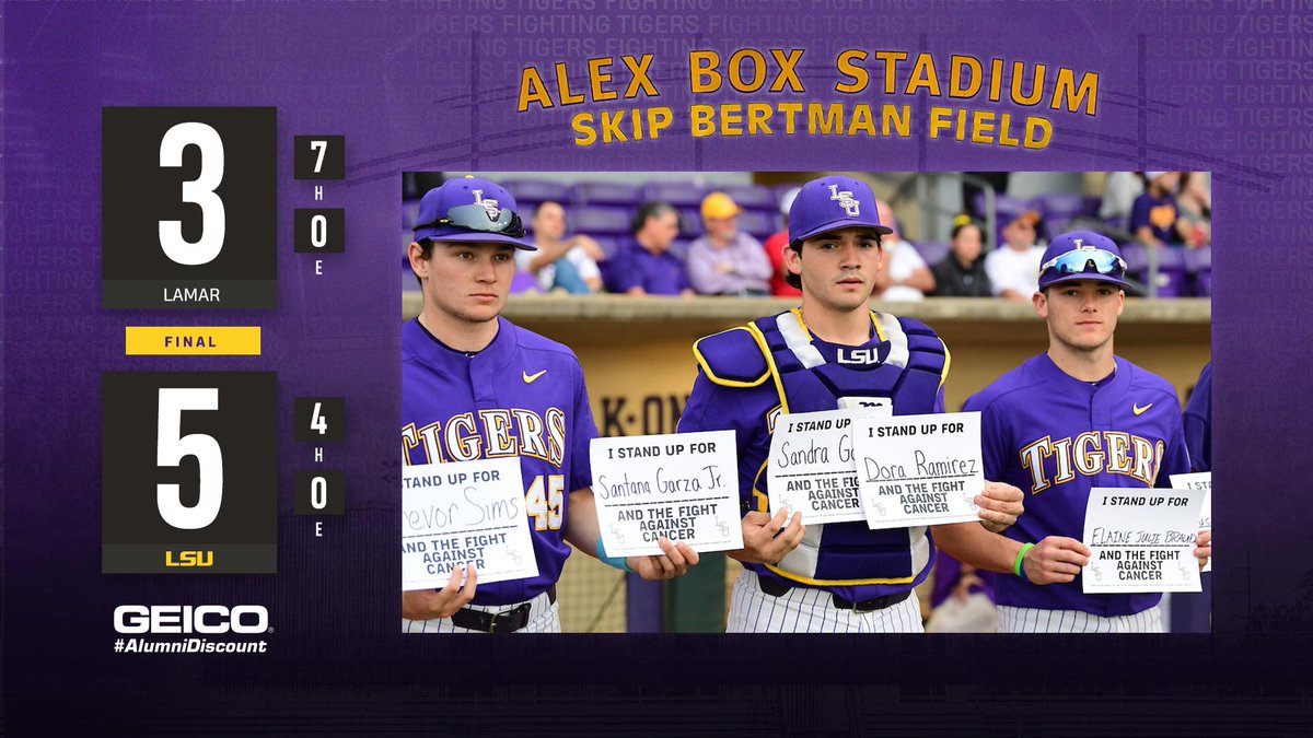 TIGERS WIN! TIGERS WIN!   LSU defeats Lamar, 5-3, and spreads awareness on Prostate Cancer Awareness Night at The Box! #GeauxTigers<br>http://pic.twitter.com/TiubArptje