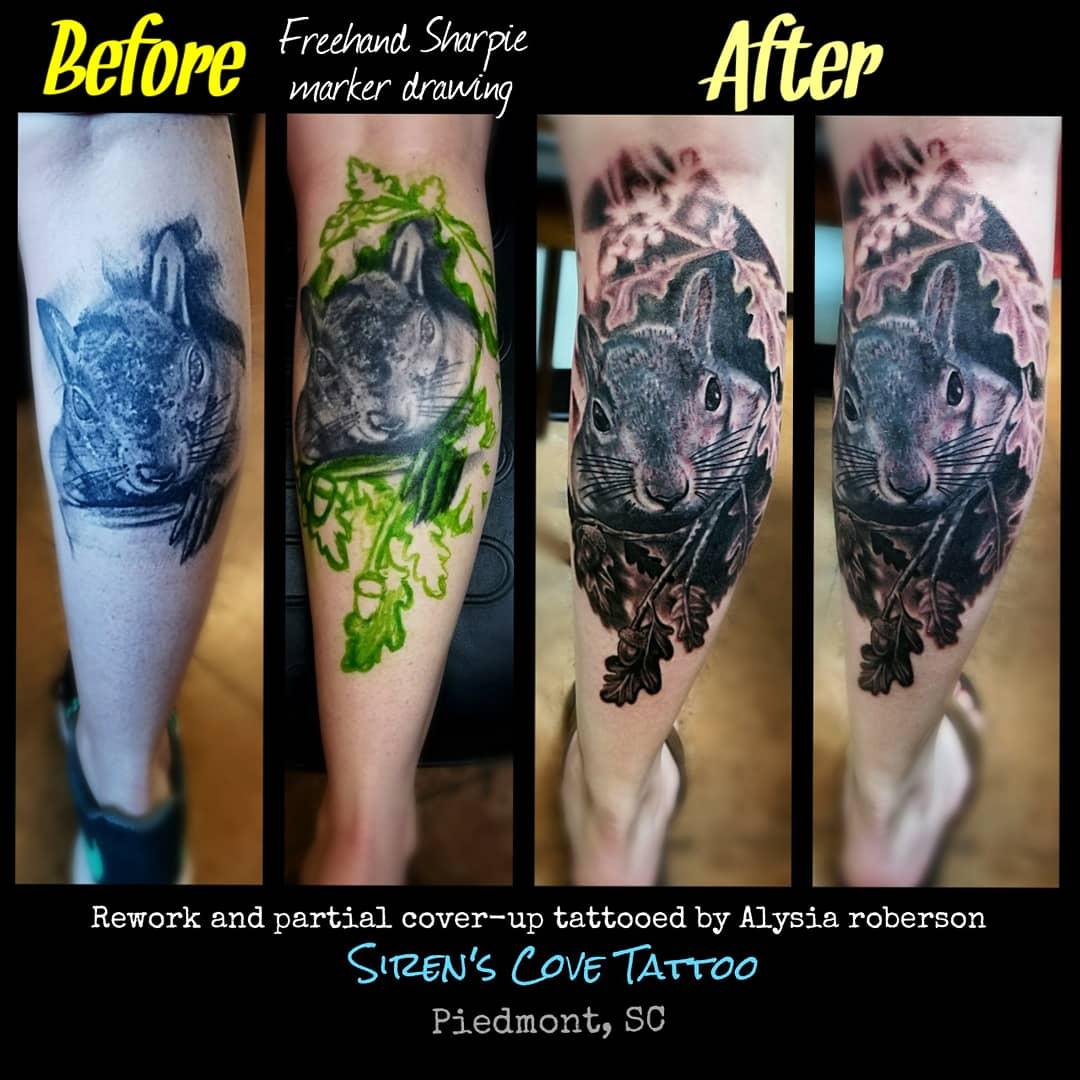 5438a4dc85288 #coverup #coveruptattoo #reworktattoo #squirrel #squirrels #animaltattoo  #realistictattoo #blackandgreytattoo #legtattoo #tattoos #tattooed  #tattooedwoman ...