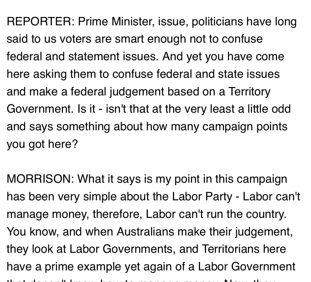 Great question to @ScottMorrisonMP today in Darwin. Anybody know who asked it? #auspol  <br>http://pic.twitter.com/BWEoMaWcMH