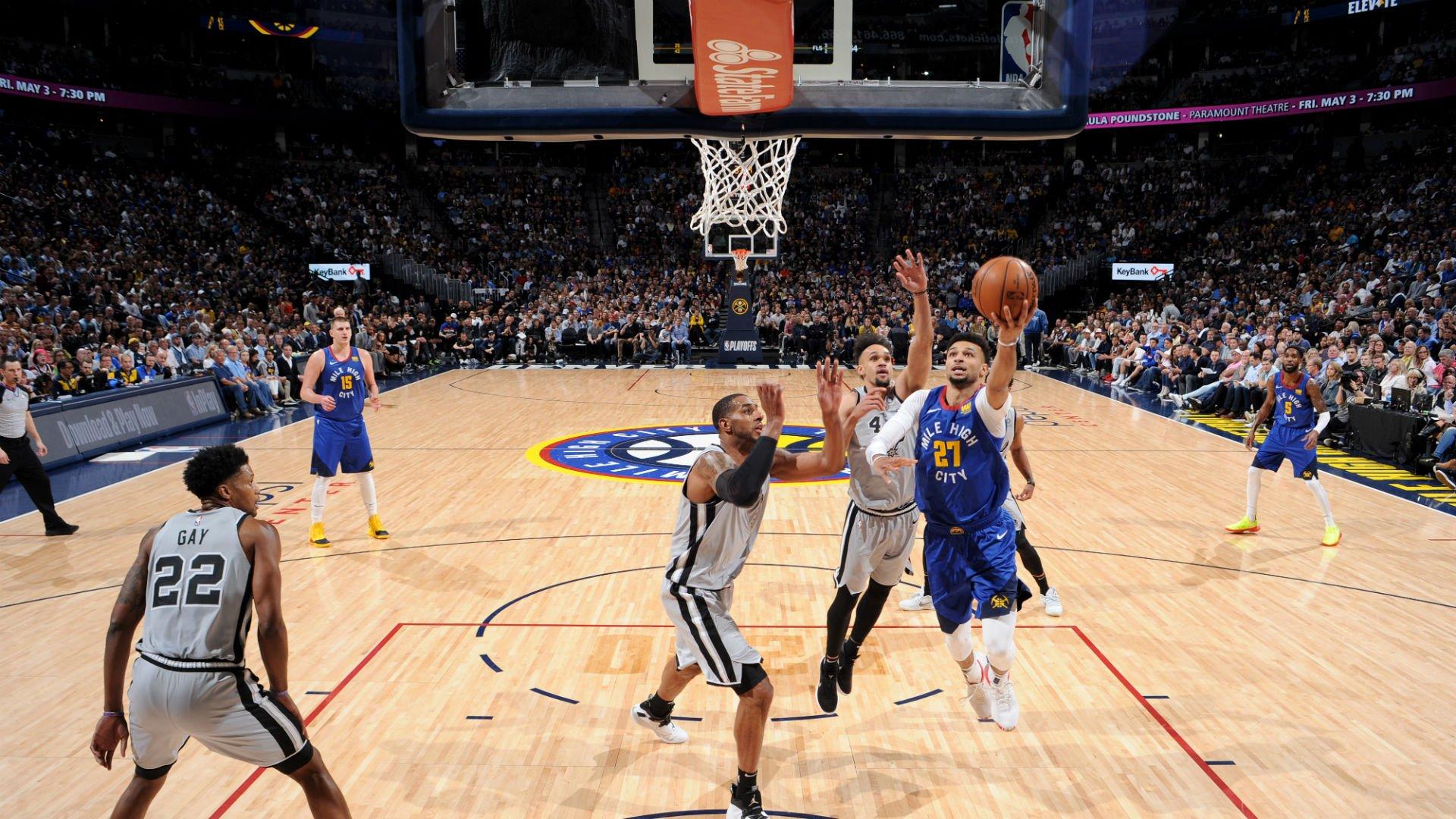 Jamal Murray entra a canasta frente a los Spurs (Foto: Nuggets).