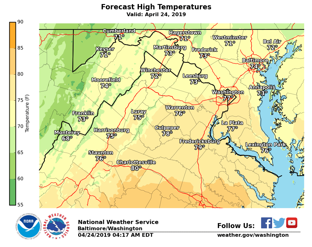 It will be breezy today with winds gusting up to around 25 mph and temperatures will be in the 70s except 60s at the higher elevations. #DCwx #MDwx #VAwx #WVwx<br>http://pic.twitter.com/C7AhS7cKzD