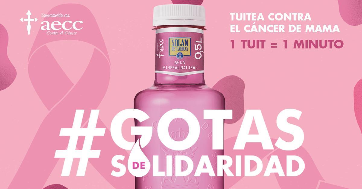 Un año más teñimos nuestra botella de rosa como símbolo de lucha contra el cáncer. Por cada tuit con el hashtag #GotasdeSolidaridad, donaremos un minuto de atención psicológica @aecc_es. ¡Únete para apoyar a los pacientes de cáncer y familiares. Teléfono Infocáncer: 900 100 036