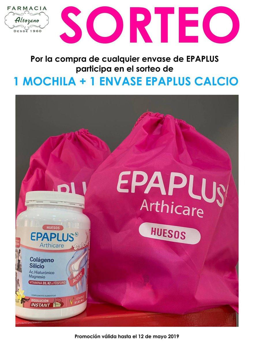 Ahora, por la compra de cualquier envase de #Epaplus, participa en el sorteo de una mochila y un Epaplus Arthicare Calcio. Promoción válida hasta el 12 de mayo, día de la Carrera de la Mujer en Madrid.