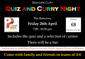 Last few tickets left for Friday night's Quiz and Curry Night.