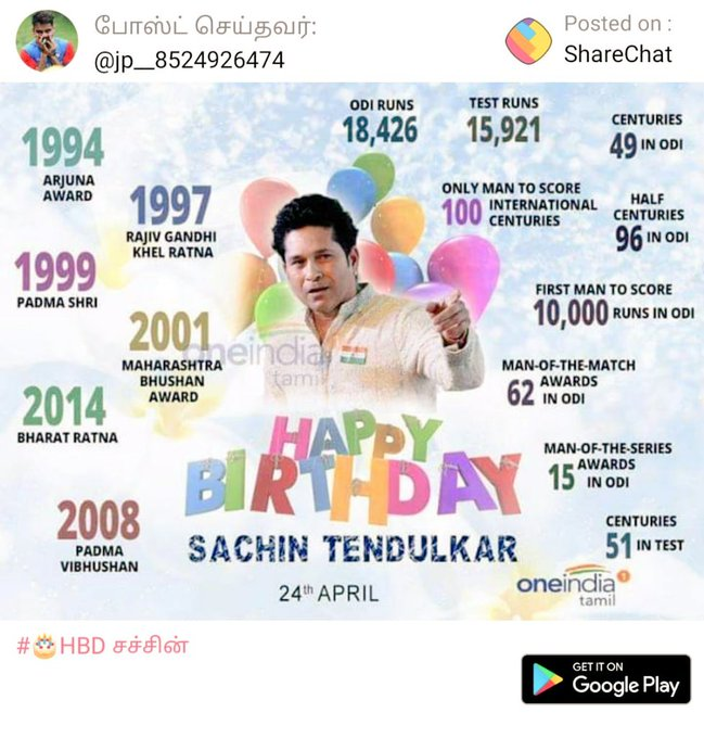 HAPPY BIRTHDAY SACHIN  TENDULKAR     GOD OF CRICKET     ROLE MODEL OF CRICKET FANS