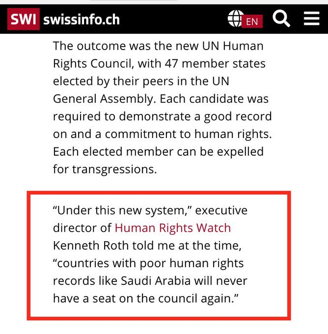 """2006: HRW's @KenRoth: In reformed UNHRC, """"countries with poor human rights records like Saudi Arabia will never have a seat again.""""  2006: #SaudiArabia wins 3-year term  2009: #SaudiArabia reelected 2013: #SaudiArabia reelected 2016: #SaudiArabia reelected  https://www. swissinfo.ch/eng/society/in side-geneva_human-rights-council--more-than-talking-shop/43982816 &nbsp; … <br>http://pic.twitter.com/H5SbG16wNT"""