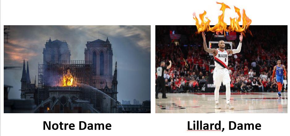 Dames on fire #NotreDame #DamianLillard<br>http://pic.twitter.com/4NkqfmDGCf